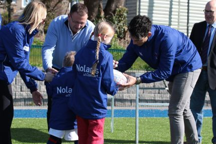 Paul Nolan of Nolan's Supermarkets Sponsors Clontarf Bulls Jackets At Clontarf Rugby