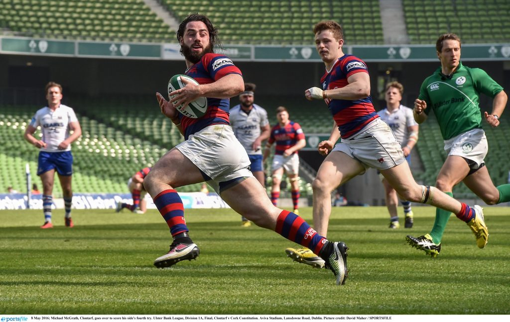 8 May 2016; Michael McGrath, Clontarf, goes over to score his side's fourth try. Ulster Bank League, Division 1A, Final, Clontarf v Cork Constitution. Aviva Stadium, Lansdowne Road, Dublin. Picture credit: David Maher / SPORTSFILE