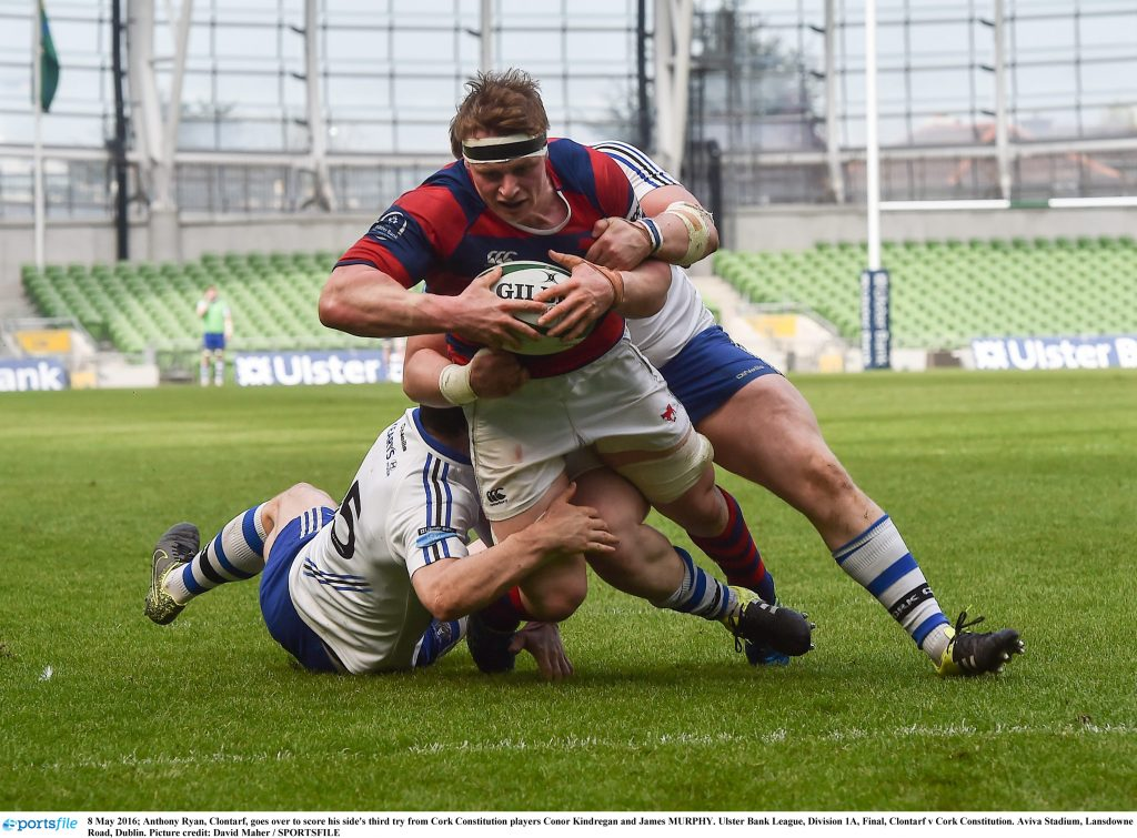 8 May 2016; Anthony Ryan, Clontarf, goes over to score his side's third try, dispite the attention from Cork Constitution players Conor Kindregan and James MURPHY. Ulster Bank League, Division 1A, Final, Clontarf v Cork Constitution. Aviva Stadium, Lansdowne Road, Dublin. Picture credit: David Maher / SPORTSFILE
