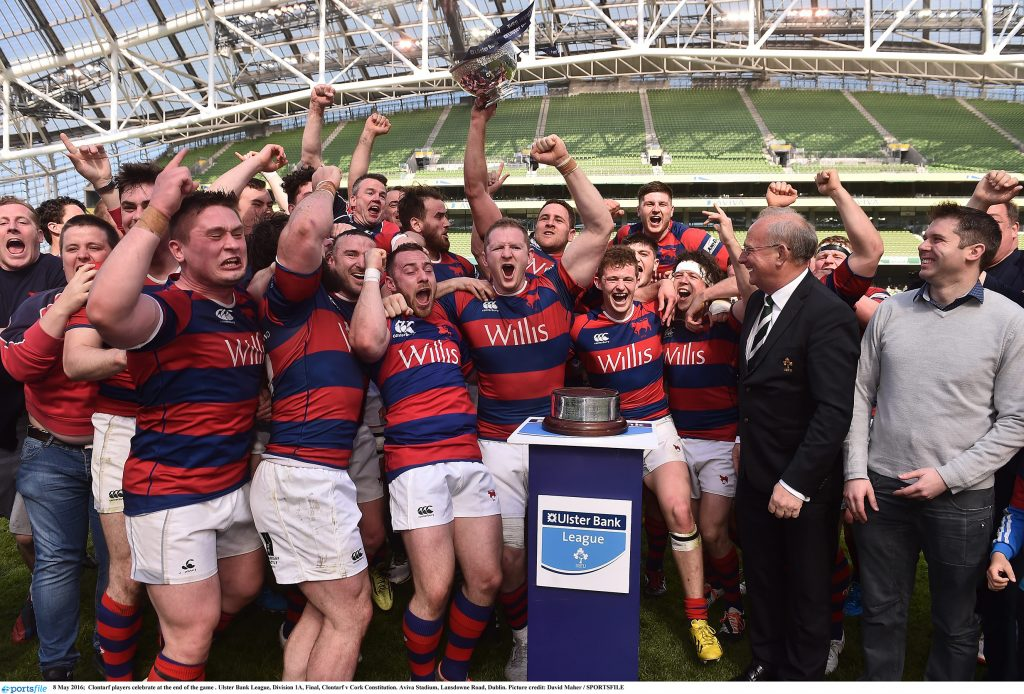 8 May 2016; Clontarf players celebrate at the end of the game . Ulster Bank League, Division 1A, Final, Clontarf v Cork Constitution. Aviva Stadium, Lansdowne Road, Dublin. Picture credit: David Maher / SPORTSFILE