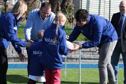 Paul Nolan of Nolan's Supermarkets Sponsors Clontarf Bulls Jackets At Clontarf Rugby