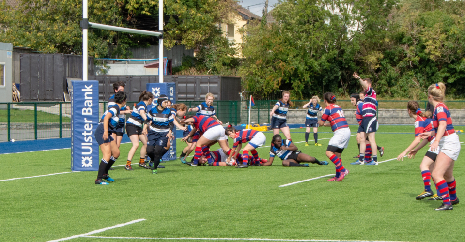 Clontarf Women's Rugby team in a ruck