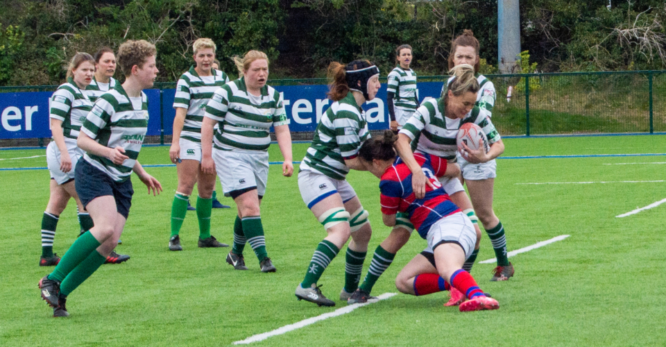 Clontarf Women's Rugby player tacking