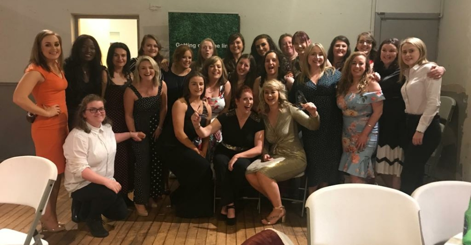 Clontarf Women's Rugby team dressed up for the Club Awards Ceremony